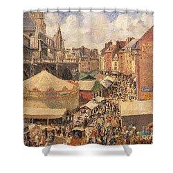 The Fair In Dieppe Shower Curtain by Camille Pissarro