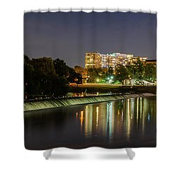 Shower Curtain featuring the photograph The Fairmount Dam And Art Museum At Night Panorama by Bill Cannon