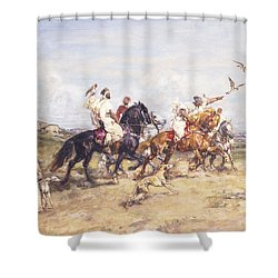 The Falcon Chase Shower Curtain by Henri Emilien Rousseau