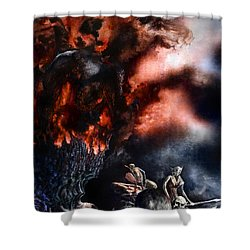 The Fall Of Azturath Shower Curtain by Curtiss Shaffer