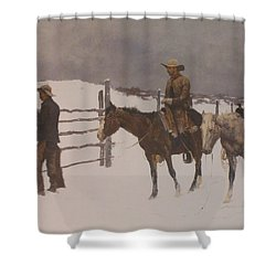 The Fall Of The Cowboy Shower Curtain by Frederic Remington