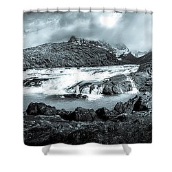 The Falls In Black And White Shower Curtain by Andrew Matwijec