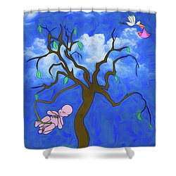 Shower Curtain featuring the digital art The Family Tree by John Haldane