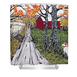 Sadie The Farm Dog Shower Curtain by Jeffrey Koss