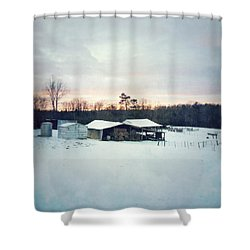 The Farm In Snow At Sunset Shower Curtain