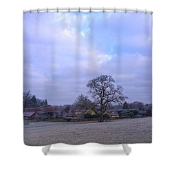 The Farm In Winter Shower Curtain by Anne Kotan