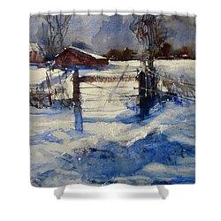 The Farm On Barry Shower Curtain by Sandra Strohschein