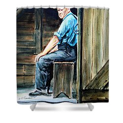 Shower Curtain featuring the painting The Farmer by Patricia L Davidson
