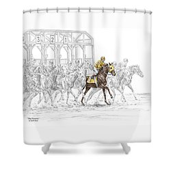 The Favorite - Thoroughbred Race Print Color Tinted Shower Curtain