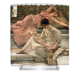 The Favourite Poet Shower Curtain by Sir Lawrence Alma-Tadema