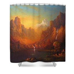 The Fellowship Of The Ring Moria Shower Curtain by Joe  Gilronan