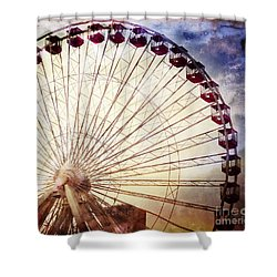 The Ferris Wheel At Navy Pier Shower Curtain by Mary Machare