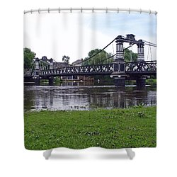 The Ferry Bridge Shower Curtain by Rod Johnson