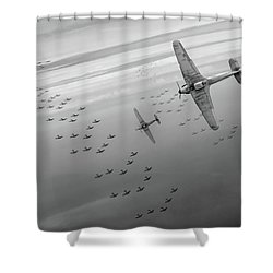 Shower Curtain featuring the photograph The Few Bw Version by Gary Eason