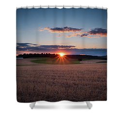 Shower Curtain featuring the photograph The Fields At Sunset by Mark Dodd