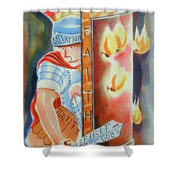 The Fiery Darts Of The Evil One 3 Shower Curtain by Kip DeVore