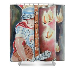 The Fiery Darts Of The Evil One Shower Curtain by Kip DeVore