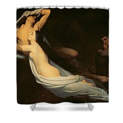 The Figures Of Francesca Da Rimini And Paolo Da Verrucchio Appear To Dante And Virgil Shower Curtain by Ary Scheffer