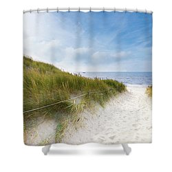 Shower Curtain featuring the photograph The First Look At The Sea by Hannes Cmarits