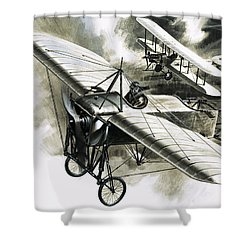 The First Reconnaissance Flight By The Rfc Shower Curtain by Wilf Hardy