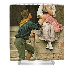 The Fishermans Wooing From The Pears Annual Christmas Shower Curtain by Eugen Von Blaas