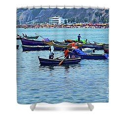 Shower Curtain featuring the photograph The Fishermen - Miraflores, Peru by Mary Machare
