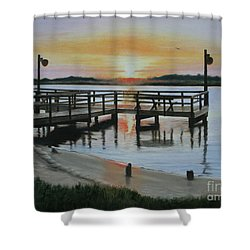 Shower Curtain featuring the painting The Fishing Pier by Jimmie Bartlett