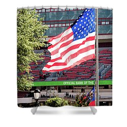 Shower Curtain featuring the photograph The Flag Flying High Over Sanford Stadium by Parker Cunningham