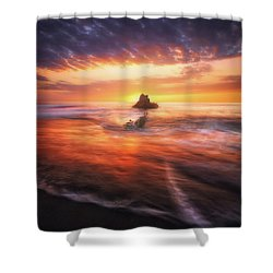 The Flaming Rock Shower Curtain