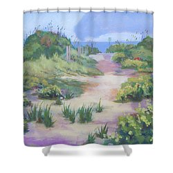 The Flip-flop Path To Paradise Shower Curtain by Carol Strickland