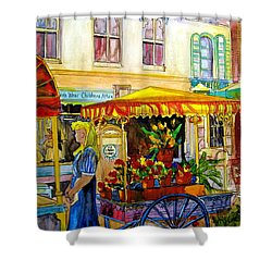 The Flowercart Shower Curtain by Carole Spandau