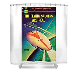 Shower Curtain featuring the painting The Flying Saucers Are Real by Frank Tinsley