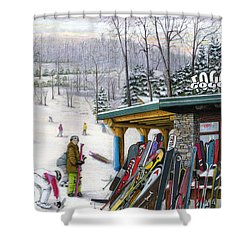 The Foggy Goggle At Seven Springs Shower Curtain by Albert Puskaric