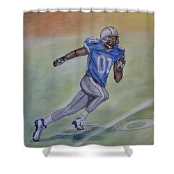 Shower Curtain featuring the painting The Football Player Run by Kelly Mills