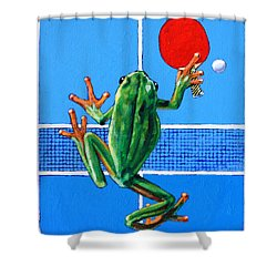 The Forehand Smash Shower Curtain by John Lautermilch