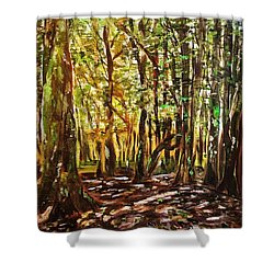 La Foret Du Mount Beuvray Shower Curtain by Belinda Low