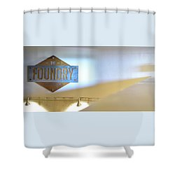 Shower Curtain featuring the photograph The Foundry by Jerry Sodorff