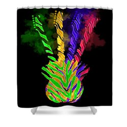 Shower Curtain featuring the digital art The Four Guitars by Guitar Wacky