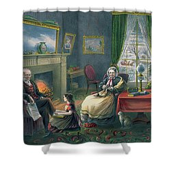 The Four Seasons Of Life  Old Age Shower Curtain by Currier and Ives