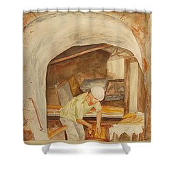 Shower Curtain featuring the painting The French Baker by Vicki  Housel