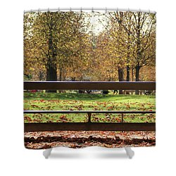 The French Bench And The Autumn Shower Curtain by Yoel Koskas