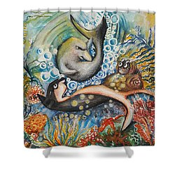 Friends 2 Shower Curtain by Rita Fetisov