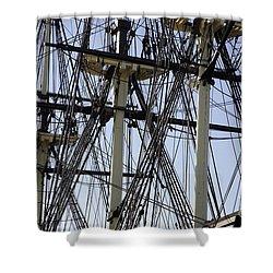 The Friendship Of Salem Tall Ship  In Salem Massachusetts Usa Shower Curtain by Erin Paul Donovan