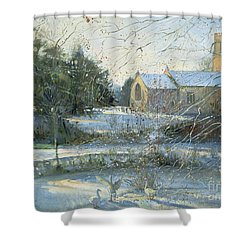 The Frozen Moat - Bedfield Shower Curtain by Timothy Easton
