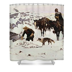 The Frozen Sheepherder Shower Curtain by Frederic Remington