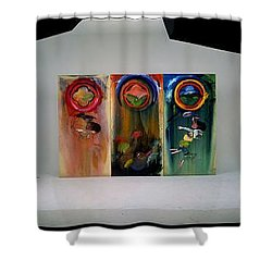 Shower Curtain featuring the painting The Fruit Machine Stops by Charles Stuart