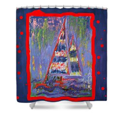 Shower Curtain featuring the painting The Fun Of Sailing by Karin Eisermann