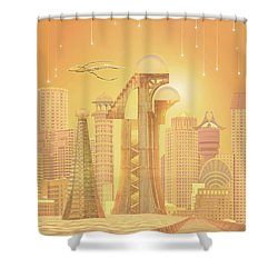 The Future Is Golden Shower Curtain