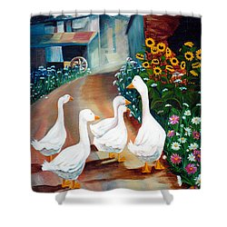 The Gaggle Shower Curtain by Renate Nadi Wesley