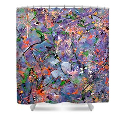 Shower Curtain featuring the painting The Garden In Spring by Lynda Lehmann